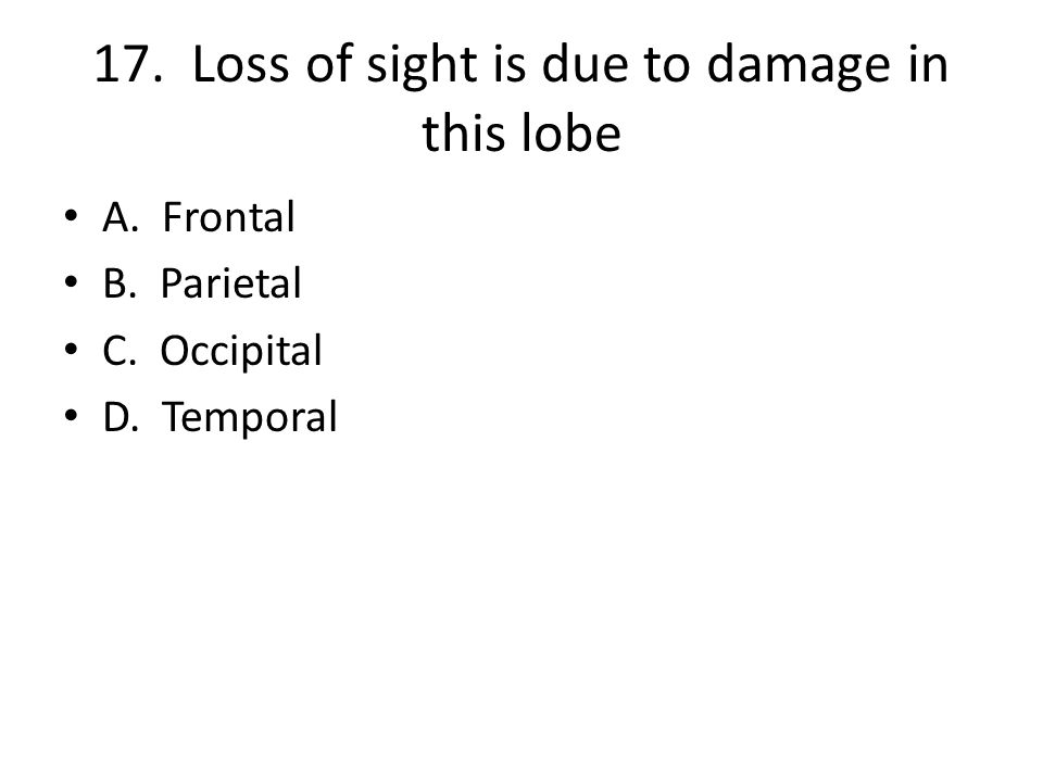 17. Loss of sight is due to damage in this lobe A. Frontal B. Parietal C. Occipital D. Temporal