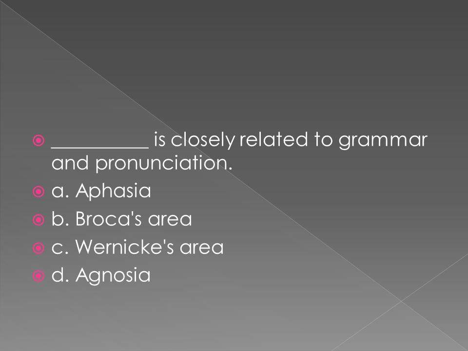  __________ is closely related to grammar and pronunciation.  a. Aphasia  b. Broca's area  c. Wernicke's area  d. Agnosia