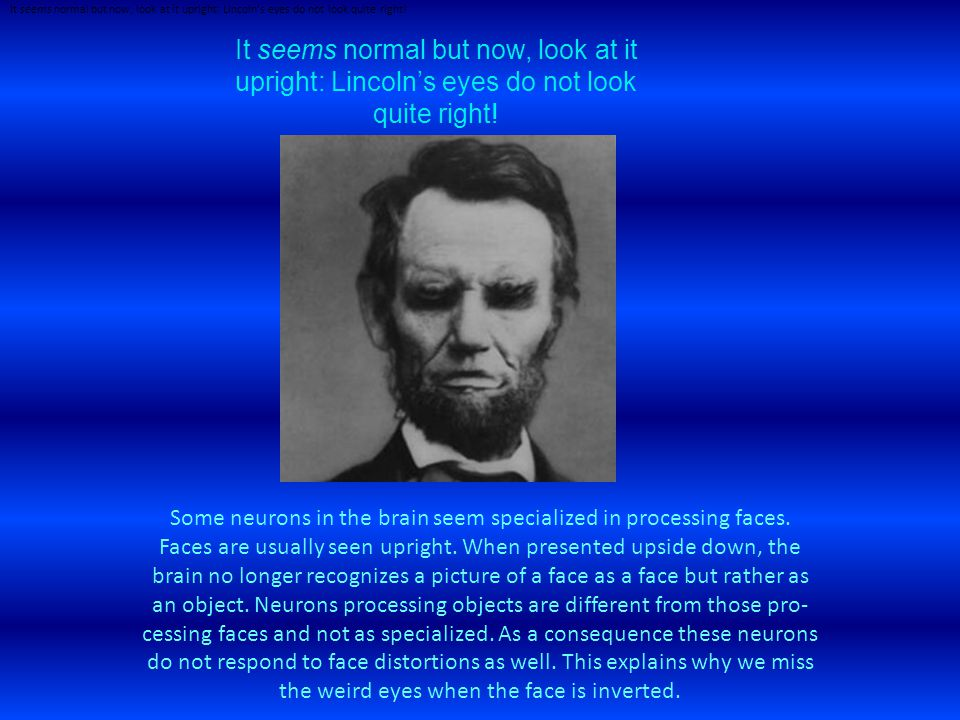 It seems nor­mal but now, look at it upright: Lincoln's eyes do not look quite right.