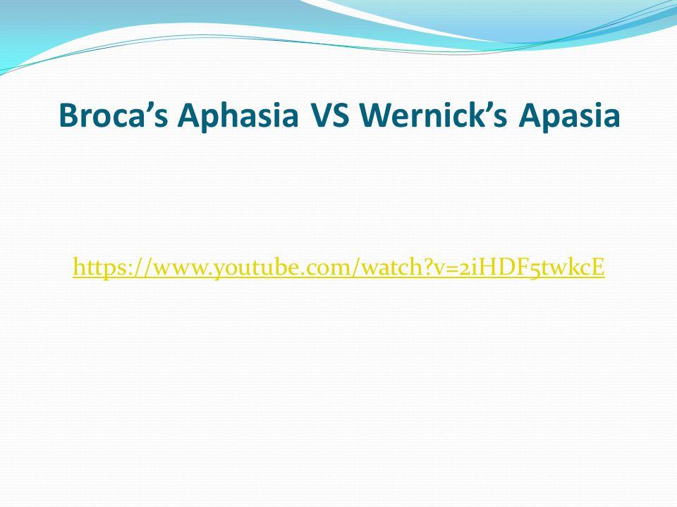 Broca's Aphasia VS Wernick's Apasia https://www.youtube.com/watch?v=2iHDF5twkcE