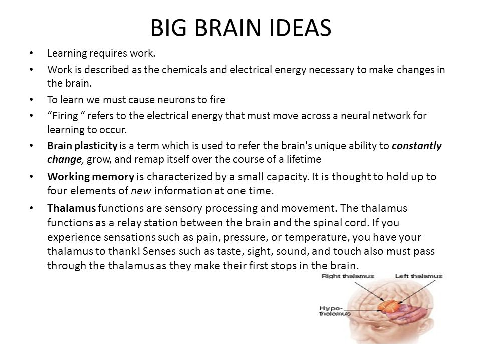 BIG BRAIN IDEAS Learning requires work.