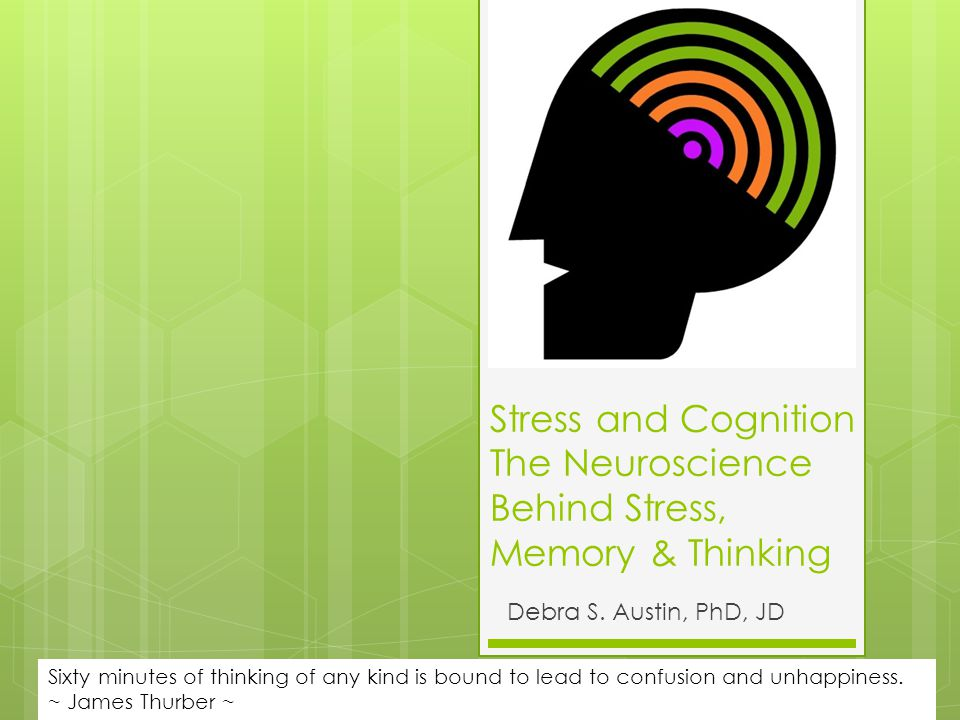 Stress and Cognition The Neuroscience Behind Stress, Memory & Thinking Debra S.