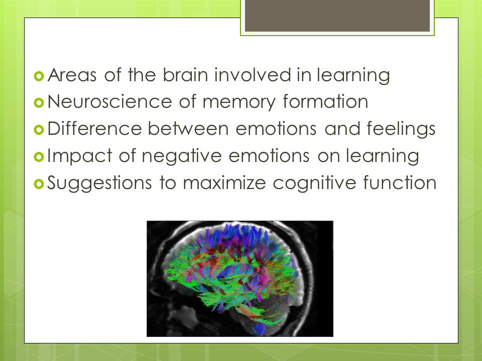 Declarative Memories  Require conscious thought to be recalled  Stored in both emotional and thinking brain  Episodic Memories - Autobiographical personal experiences  Semantic Memories - Learned Knowledge: facts, concepts & words