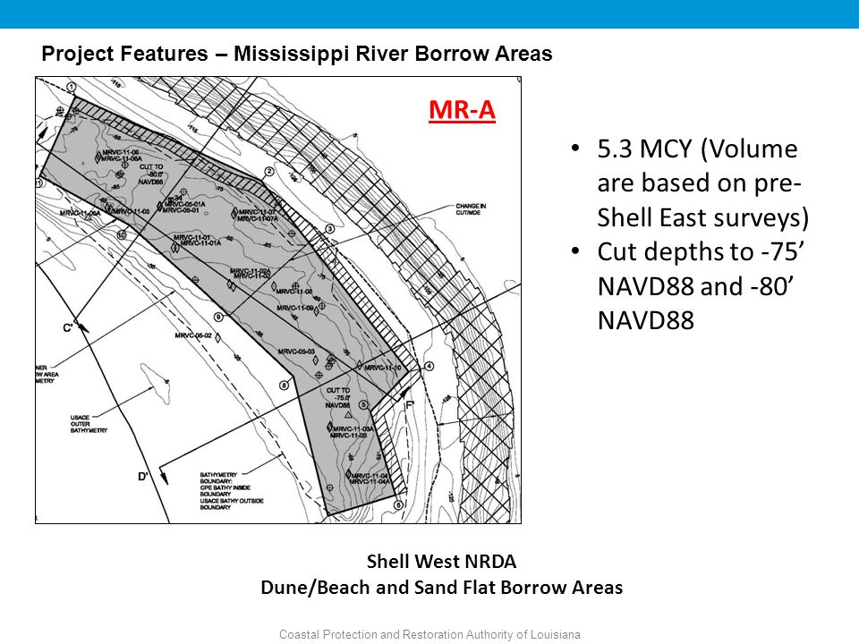 Coastal Protection and Restoration Authority of Louisiana Shell West NRDA Dune/Beach and Sand Flat Borrow Areas MR-A 5.3 MCY (Volume are based on pre- Shell East surveys) Cut depths to -75' NAVD88 and -80' NAVD88 Project Features – Mississippi River Borrow Areas