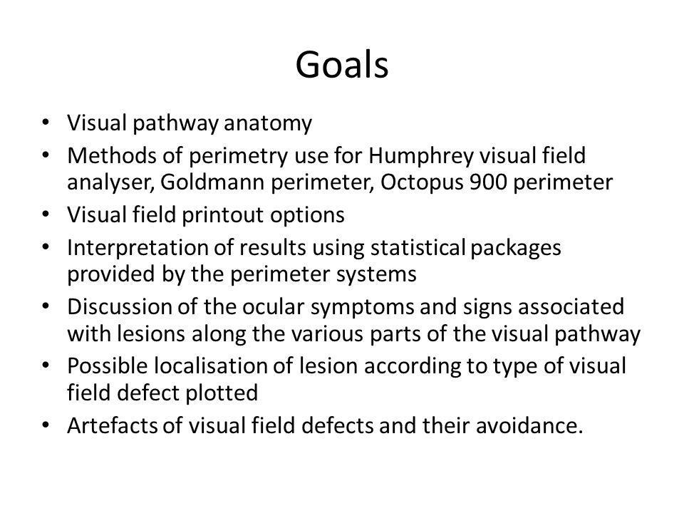 Goals Visual pathway anatomy Methods of perimetry use for Humphrey visual field analyser, Goldmann perimeter, Octopus 900 perimeter Visual field print
