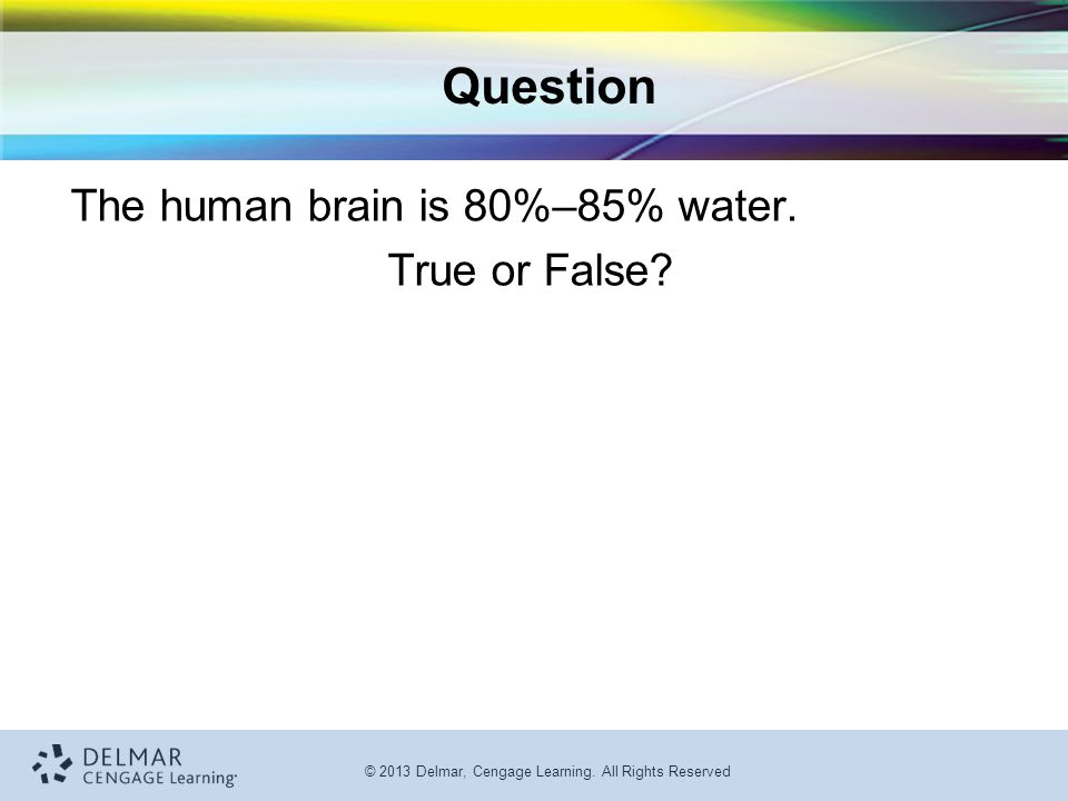 © 2013 Delmar, Cengage Learning.All Rights Reserved Question The human brain is 80%–85% water.