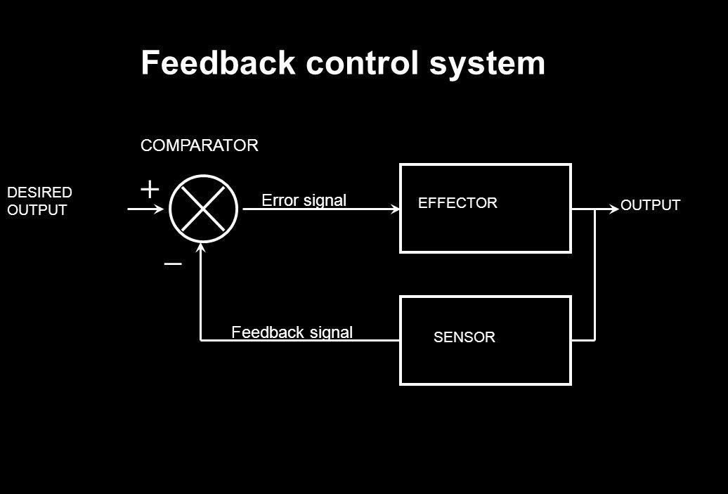 Feedback control system DESIRED OUTPUT SENSOR EFFECTOR OUTPUT Error signal Feedback signal COMPARATOR + –