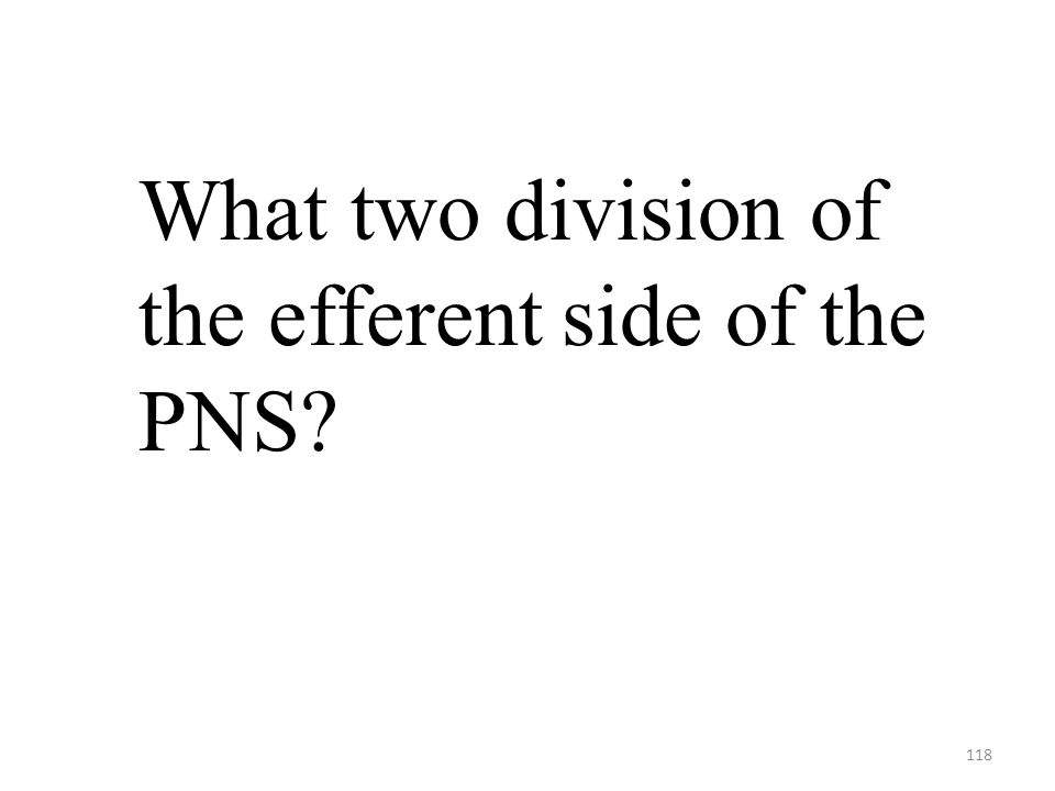 118 What two division of the efferent side of the PNS?