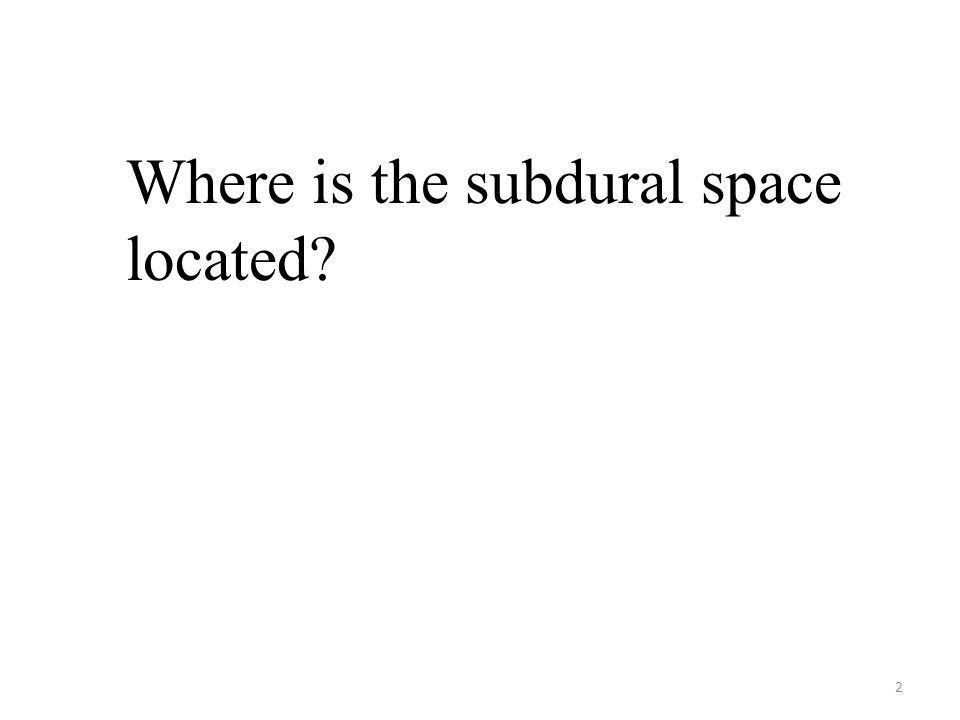 2 Where is the subdural space located?