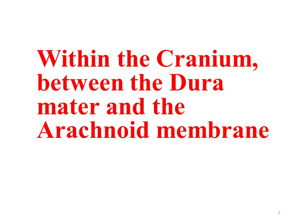 3 Within the Cranium, between the Dura mater and the Arachnoid membrane