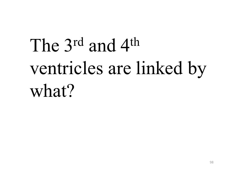 98 The 3 rd and 4 th ventricles are linked by what?