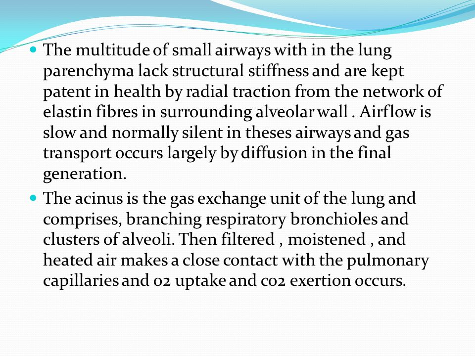 The multitude of small airways with in the lung parenchyma lack structural stiffness and are kept patent in health by radial traction from the network of elastin fibres in surrounding alveolar wall.