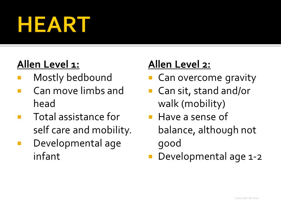 Allen Level 1:  Mostly bedbound  Can move limbs and head  Total assistance for self care and mobility.  Developmental age infant Allen Level 2: 