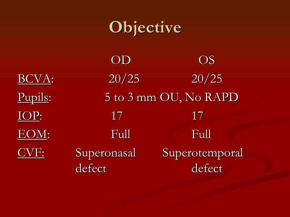 Objective Slit Lamp Exam: External/LidsNormal OU Conjunctiva/ScleraNormal OU CorneaClear OU Anterior ChamberDeep, quiet OU IrisNormal OU LensClear OU VitreousNormal OU