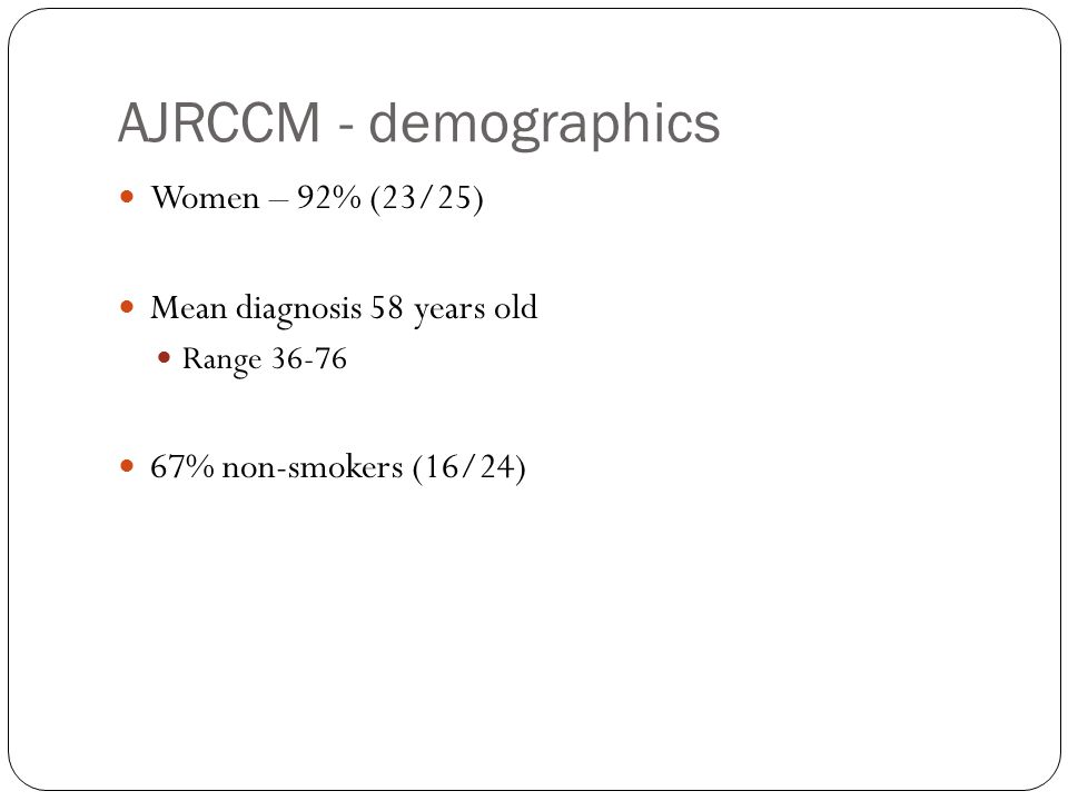 AJRCCM - demographics Women – 92% (23/25) Mean diagnosis 58 years old Range 36-76 67% non-smokers (16/24)