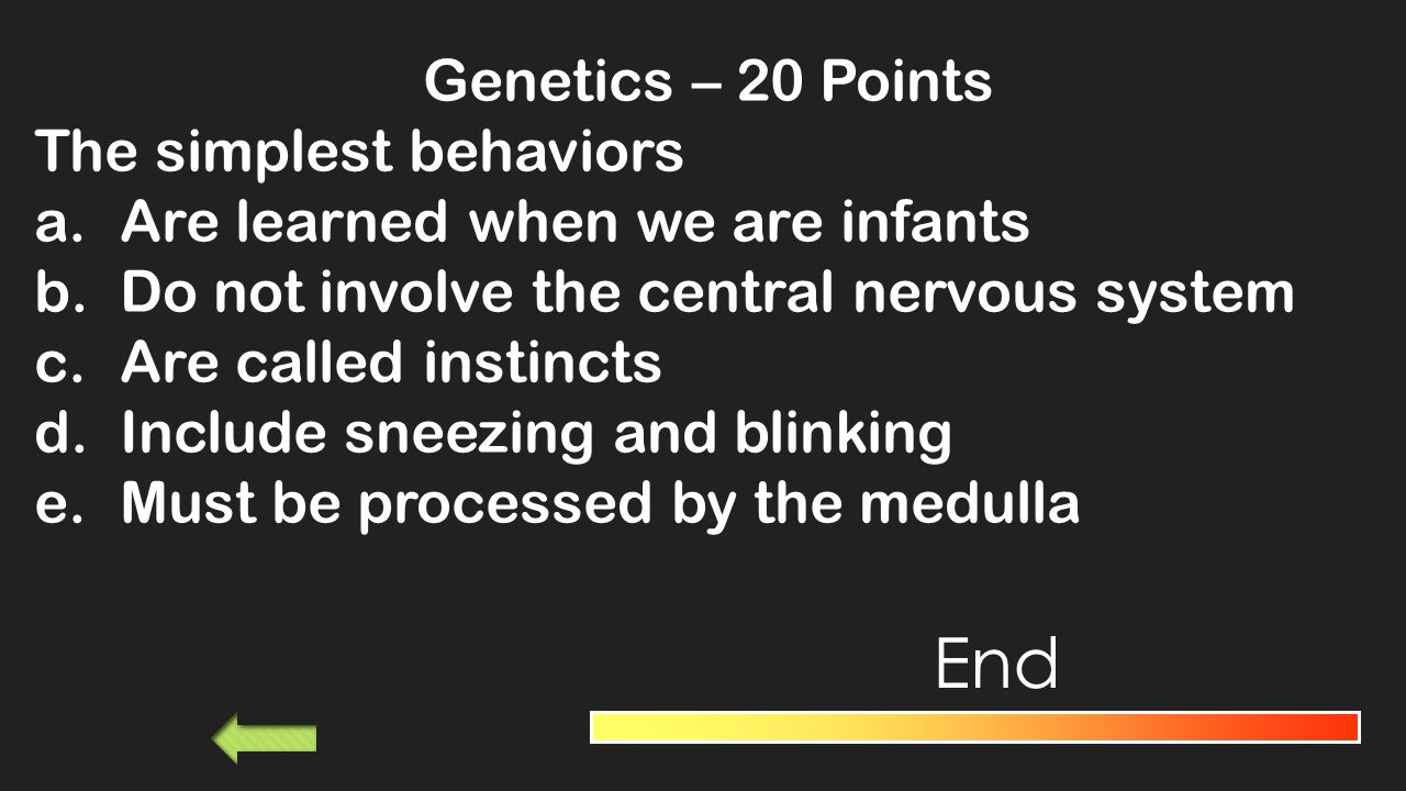 Genetics– 10 Points If chromosomes are the chapters of heredity then the words are a.Genes b.Molecules c.Genomes d.DNA End