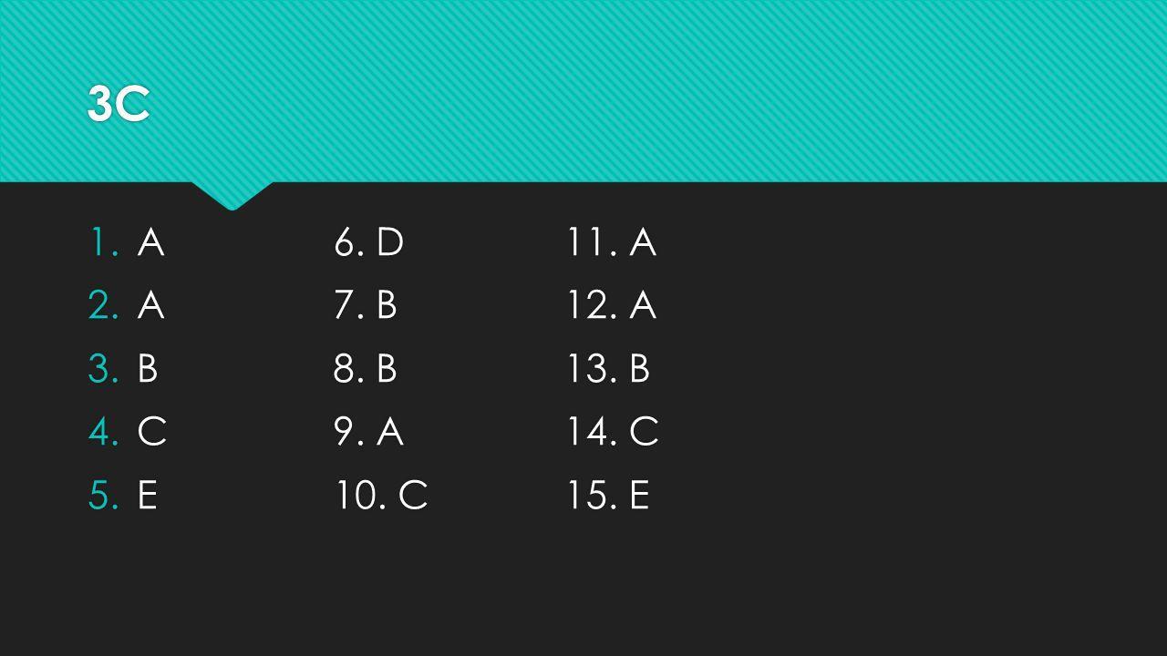 3B 1.E 2.B 3.E 4.B 5.D 1.E 2.B 3.E 4.B 5.D 6. A 7.