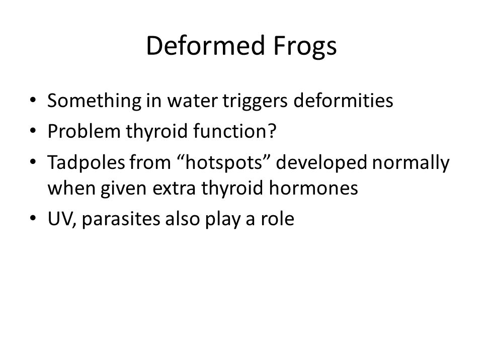 Deformed Frogs Something in water triggers deformities Problem thyroid function.