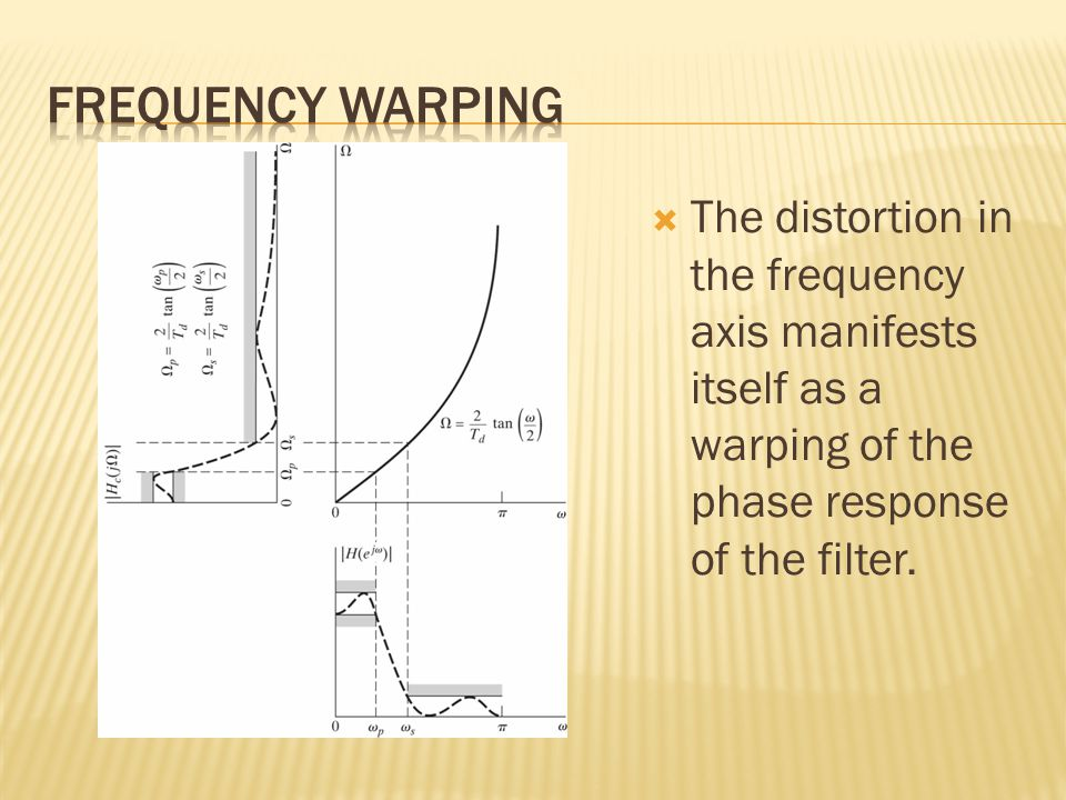  The distortion in the frequency axis manifests itself as a warping of the phase response of the filter.