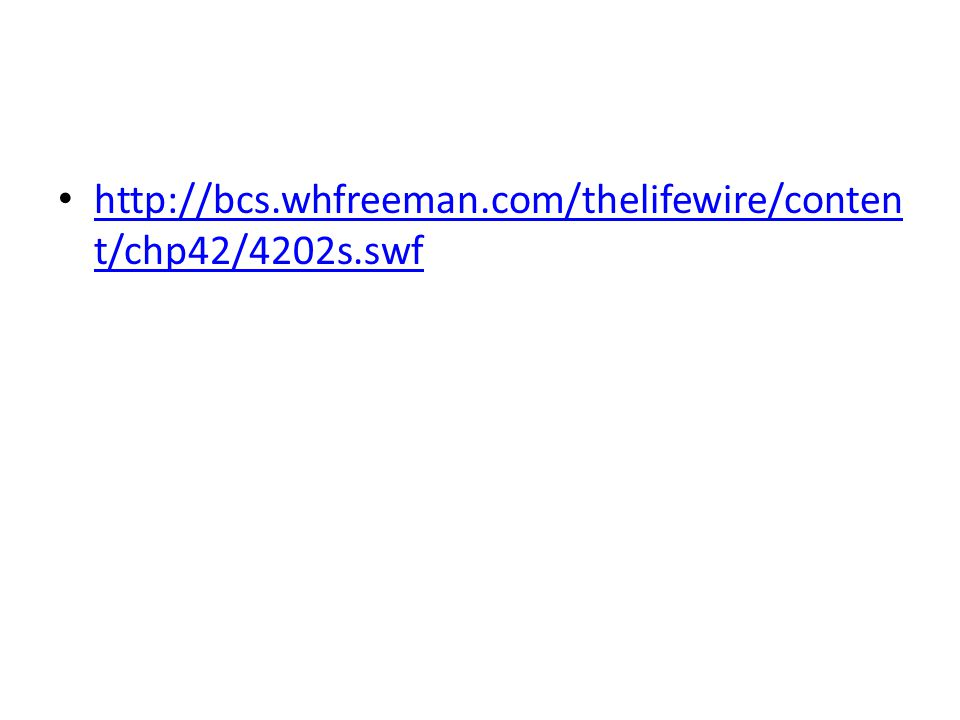 http://bcs.whfreeman.com/thelifewire/conten t/chp42/4202s.swf http://bcs.whfreeman.com/thelifewire/conten t/chp42/4202s.swf