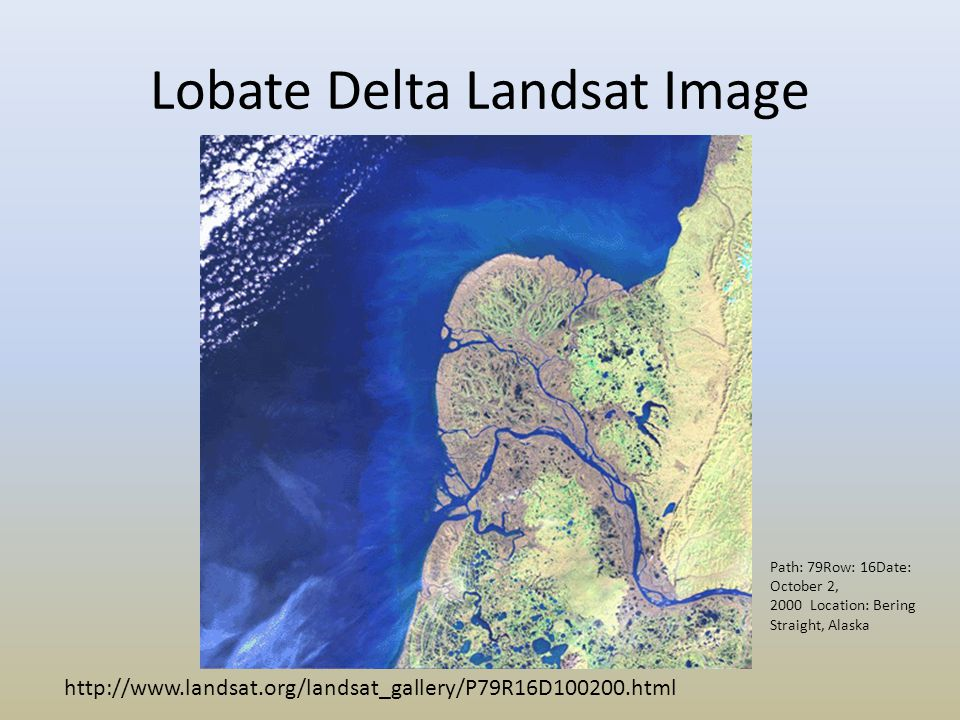 Lobate Delta Landsat Image http://www.landsat.org/landsat_gallery/P79R16D100200.html Path: 79Row: 16Date: October 2, 2000 Location: Bering Straight, A