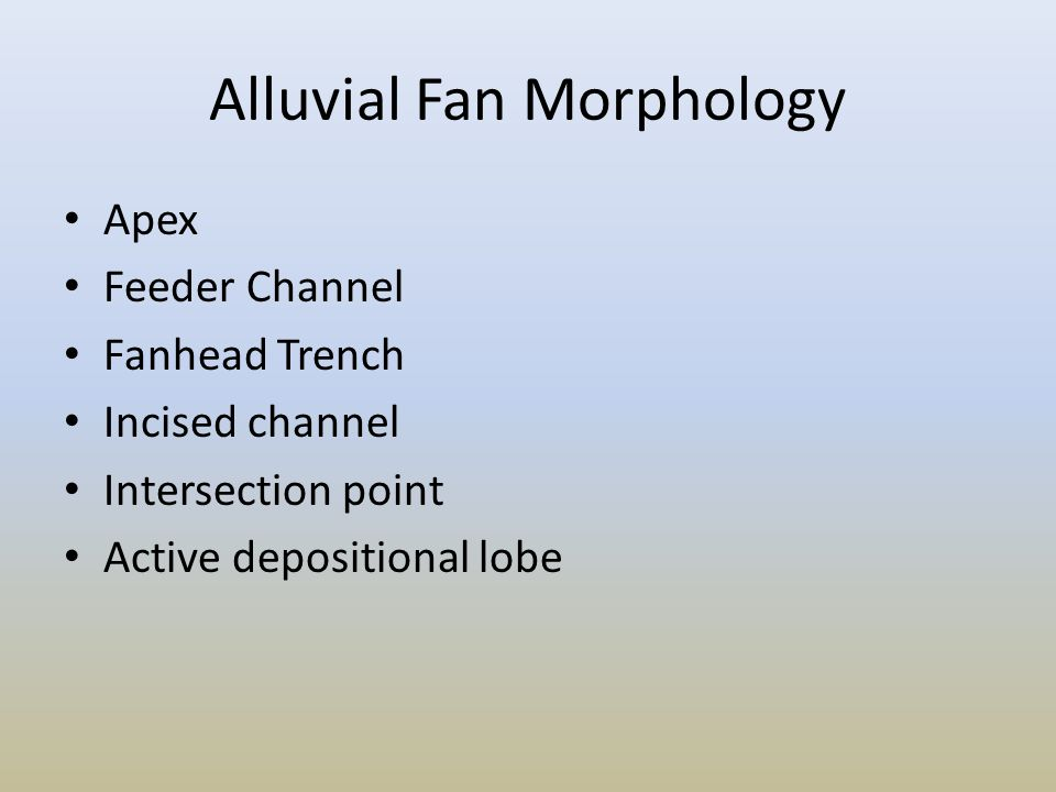Alluvial Fan Morphology Apex Feeder Channel Fanhead Trench Incised channel Intersection point Active depositional lobe