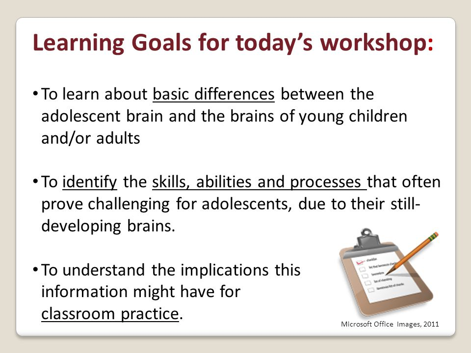 Clarify with your tablemates what you've just learned about multitasking… and working memory in the adolescent brain.