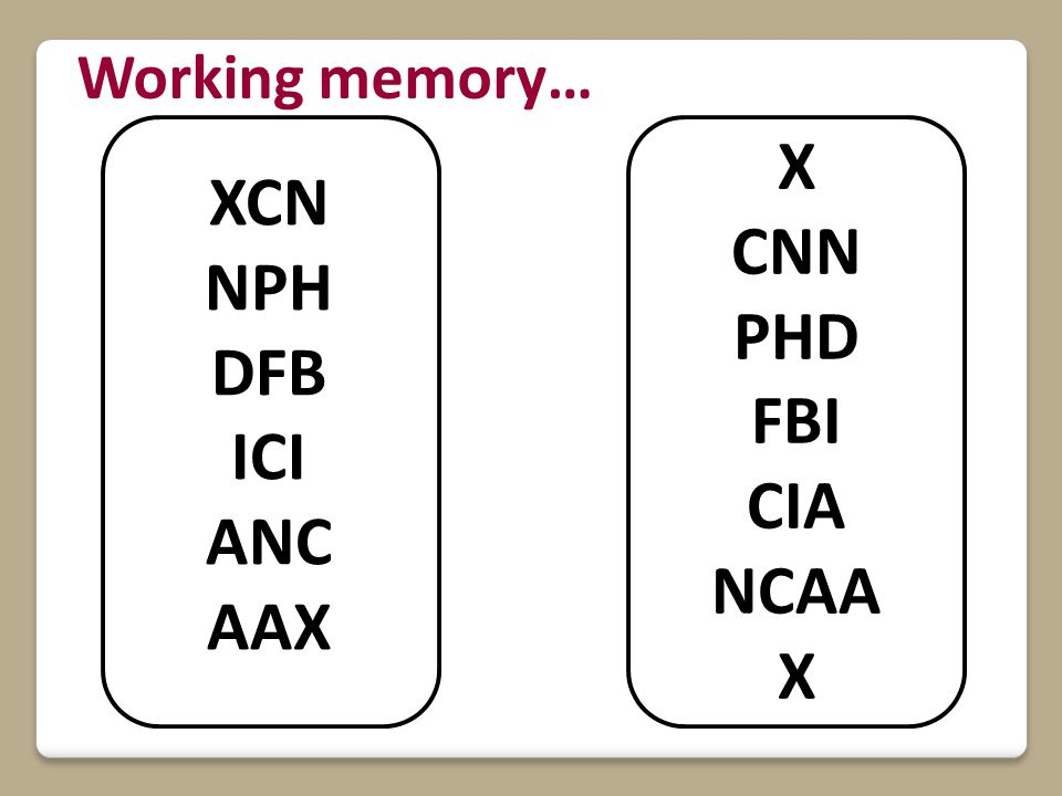 XCN NPH DFB ICI ANC AAX X CNN PHD FBI CIA NCAA X Working memory…