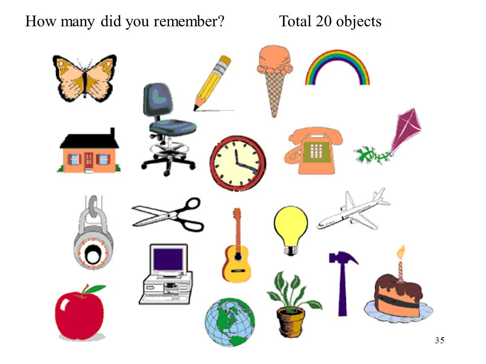 35 How many did you remember Total 20 objects