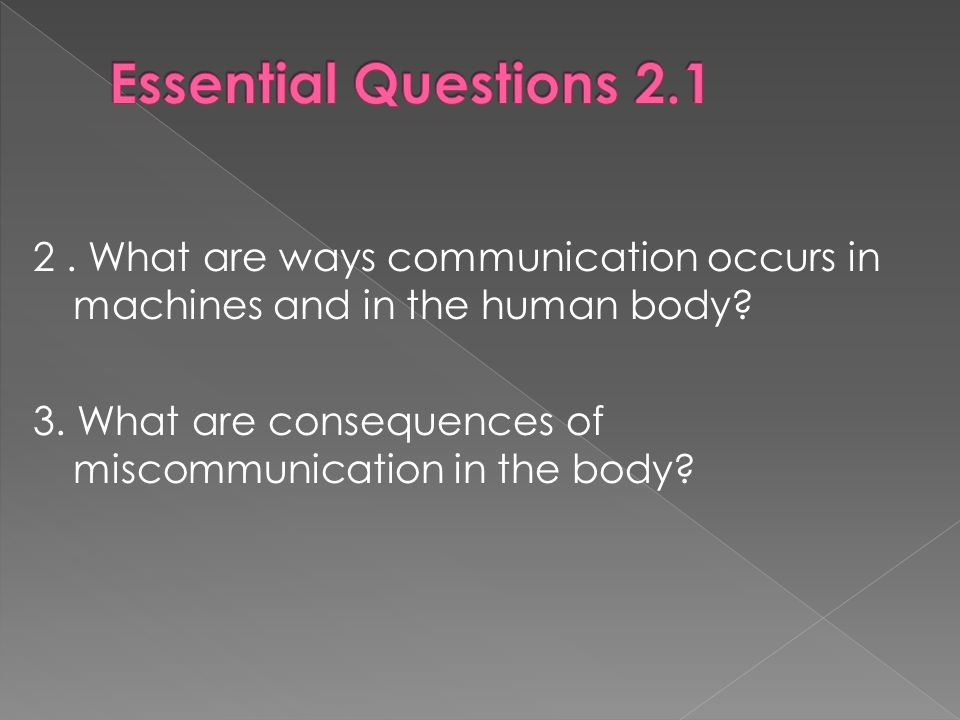 2. What are ways communication occurs in machines and in the human body.