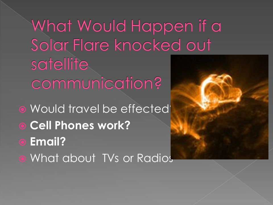  Would travel be effected?  Cell Phones work?  Email?  What about TVs or Radios