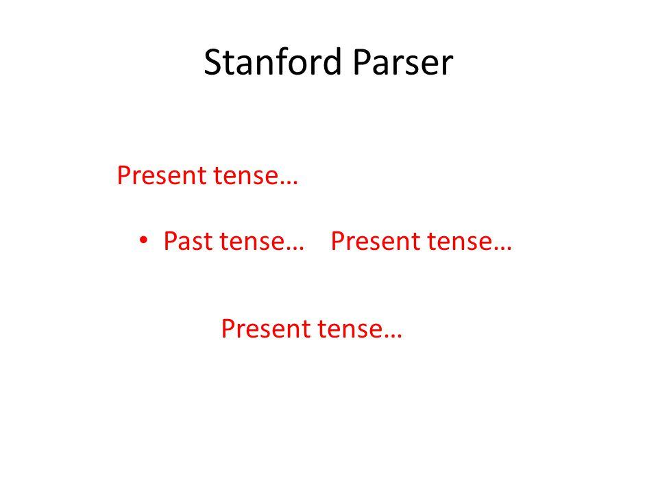 Stanford Parser Past tense… Present tense…