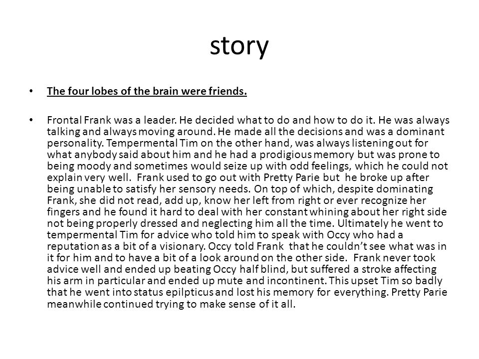 story The four lobes of the brain were friends. Frontal Frank was a leader.