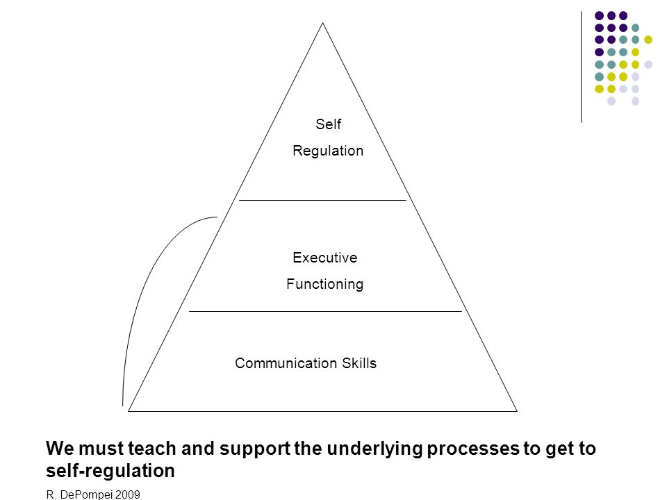 Self Regulation Executive Functioning Communication Skills We must teach and support the underlying processes to get to self-regulation R. DePompei 20