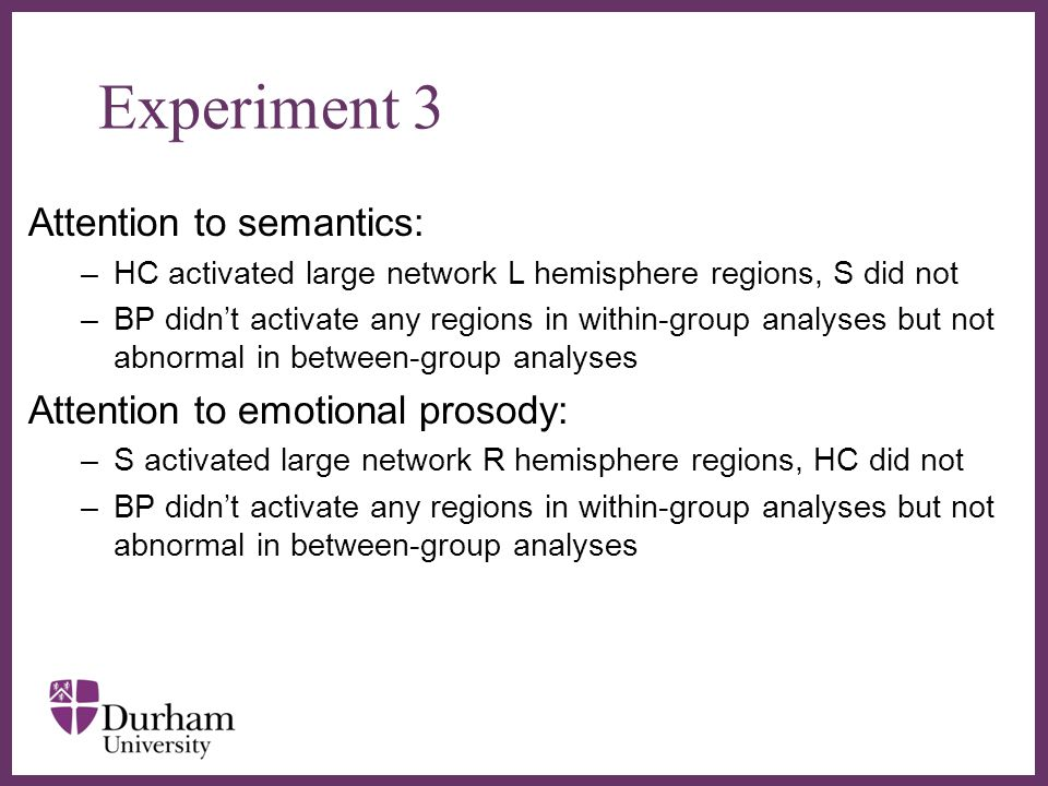 ∂ Experiment 3 Attention to semantics: –HC activated large network L hemisphere regions, S did not –BP didn't activate any regions in within-group analyses but not abnormal in between-group analyses Attention to emotional prosody: –S activated large network R hemisphere regions, HC did not –BP didn't activate any regions in within-group analyses but not abnormal in between-group analyses