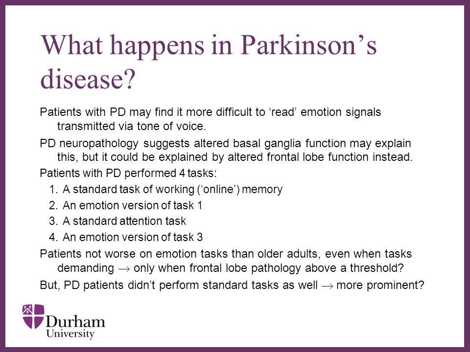 ∂ What happens in Parkinson's disease.