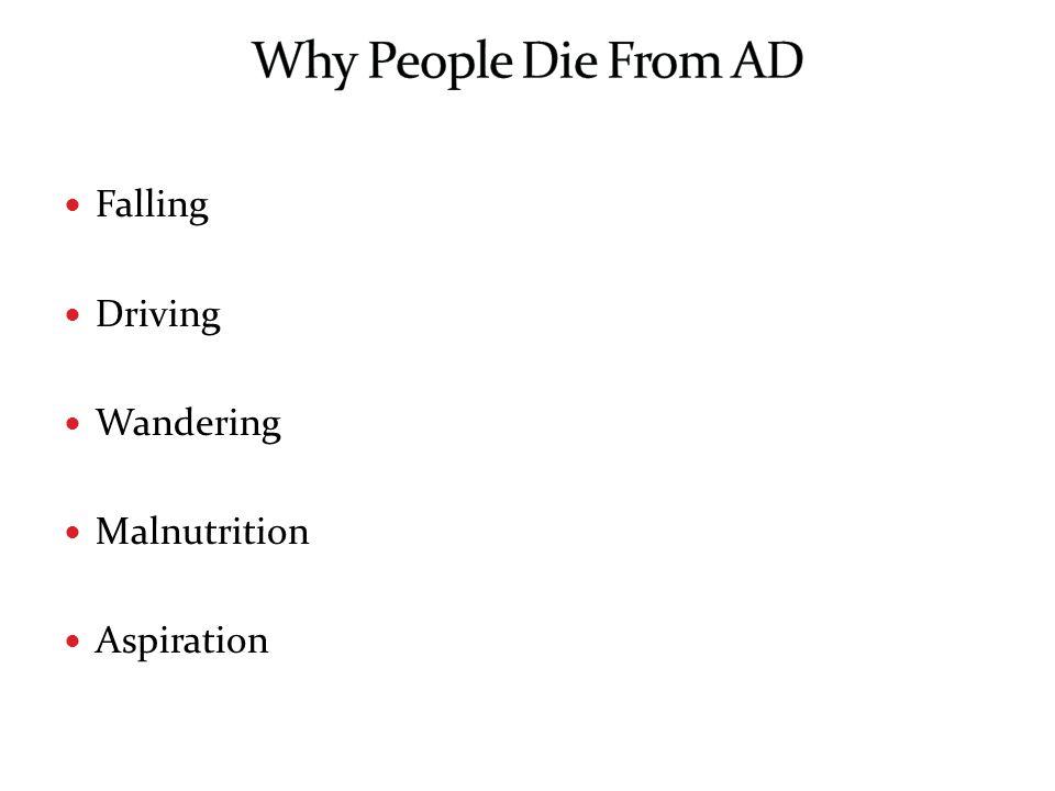 Falling Driving Wandering Malnutrition Aspiration