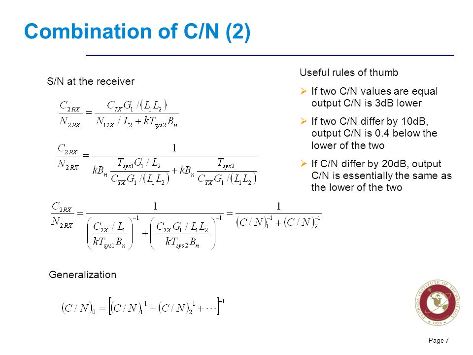 Florida Institute of technologies Combination of C/N (2) Useful rules of thumb  If two C/N values are equal output C/N is 3dB lower  If two C/N diff