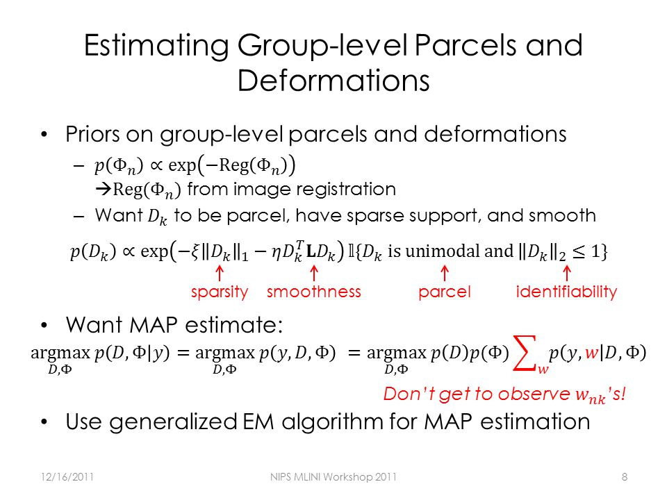Estimating Group-level Parcels and Deformations 12/16/2011NIPS MLINI Workshop 20118 sparsitysmoothnessparcelidentifiability