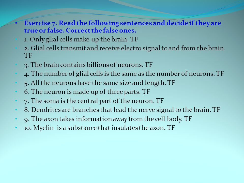 Exercise 7. Read the following sentences and decide if they are true or false.