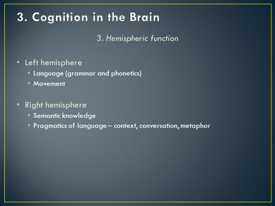 3. Hemispheric function Left hemisphere Language (grammar and phonetics) Movement Right hemisphere Semantic knowledge Pragmatics of language – context