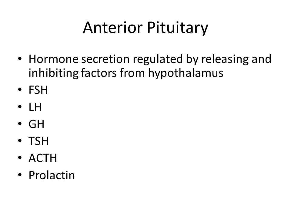 Anterior Pituitary Hormone secretion regulated by releasing and inhibiting factors from hypothalamus FSH LH GH TSH ACTH Prolactin