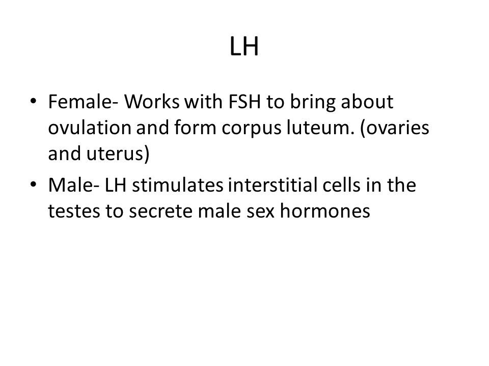 LH Female- Works with FSH to bring about ovulation and form corpus luteum. (ovaries and uterus) Male- LH stimulates interstitial cells in the testes t
