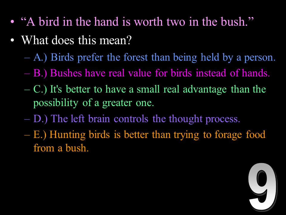 A bird in the hand is worth two in the bush. What does this mean.