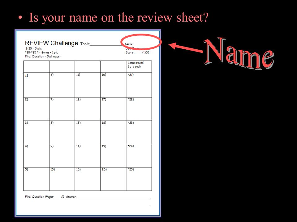 Is your name on the review sheet?