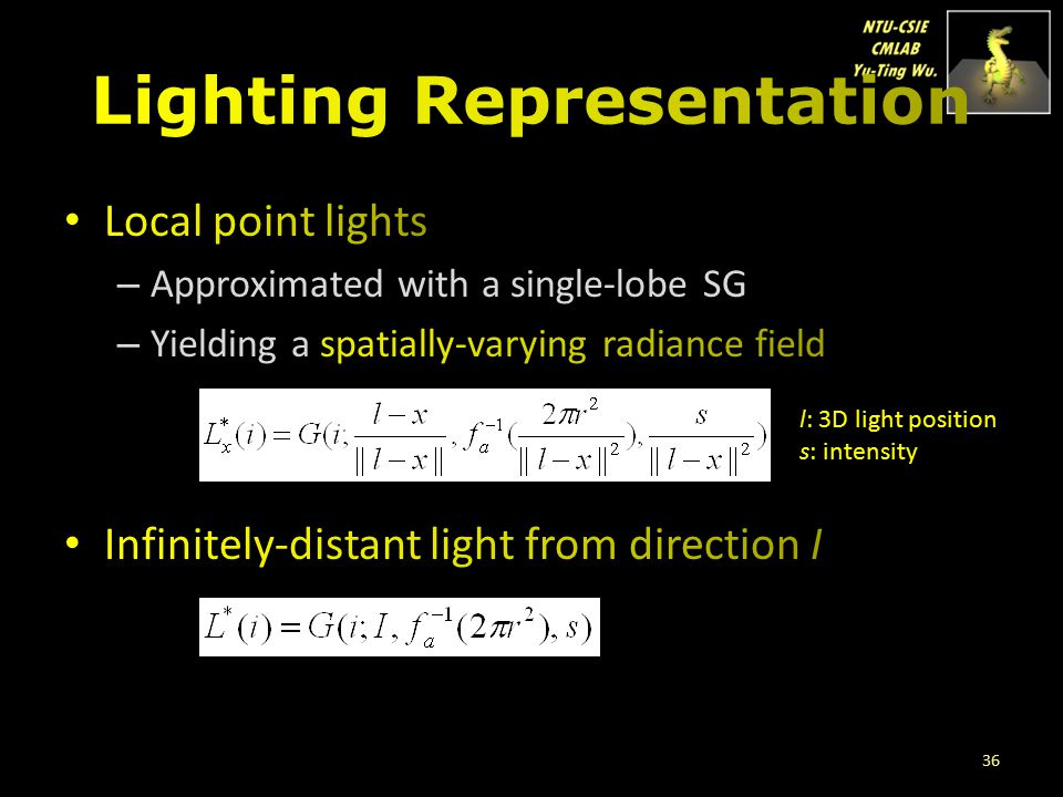 36 l: 3D light position s: intensity