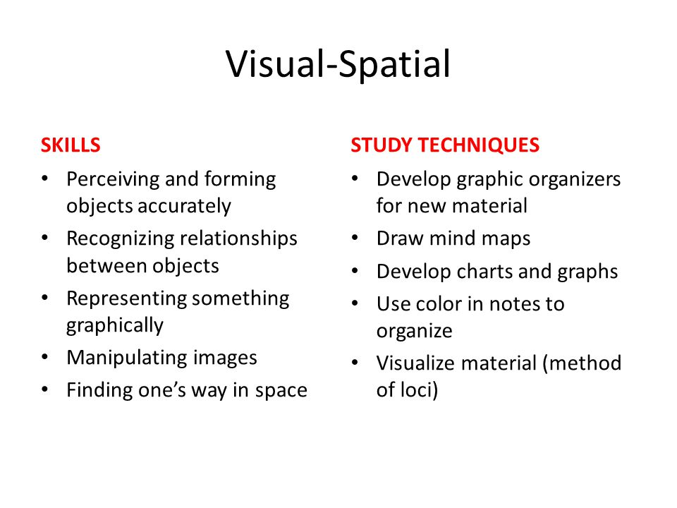 Visual-Spatial SKILLS Perceiving and forming objects accurately Recognizing relationships between objects Representing something graphically Manipulat