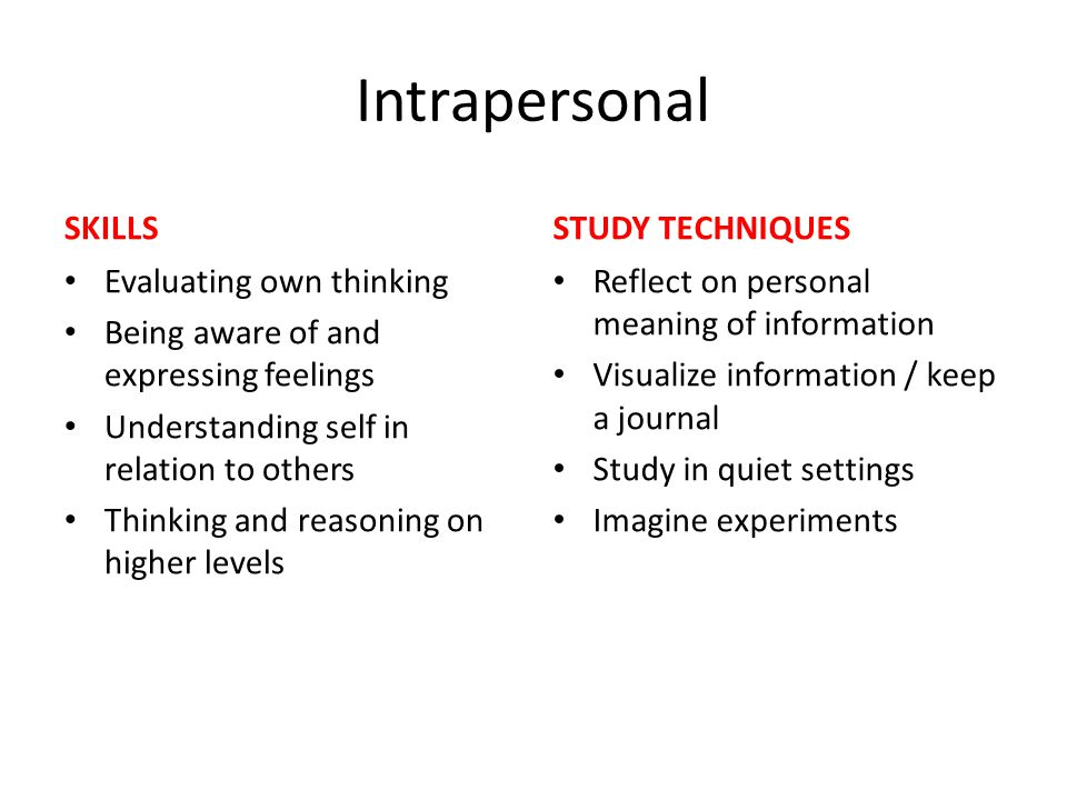 Intrapersonal SKILLS Evaluating own thinking Being aware of and expressing feelings Understanding self in relation to others Thinking and reasoning on