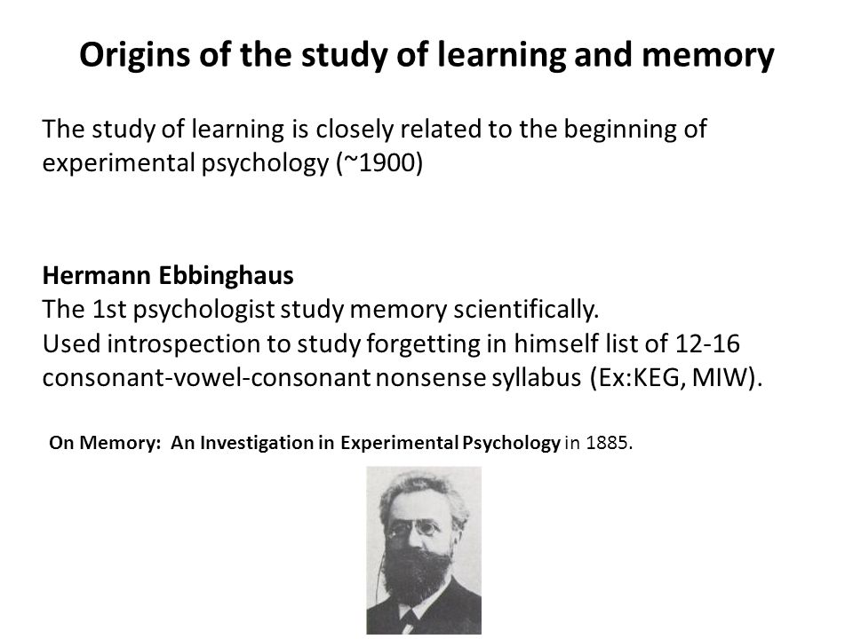 Hermann Ebbinghaus The 1st psychologist study memory scientifically.