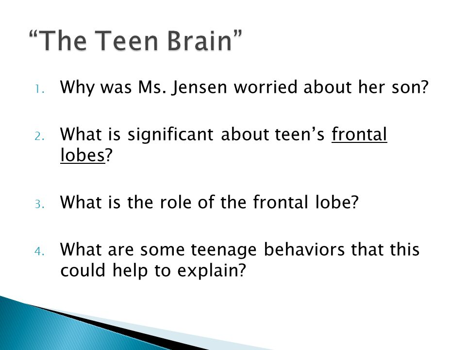 1. Why was Ms. Jensen worried about her son. 2.